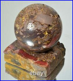 Rhodochrosite on matrix polished stone sphere 69 mm with stand ball #13785