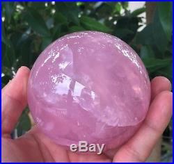 Rose Quartz Sphere/Ball Large 90mm, 940 grams Crystal/Mineral + Free Clear Stand