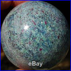 SPHEREFACTOR Gorgeous Corundum RUBY Crystals in FUCHSITE & KYANITE Ball Sphere