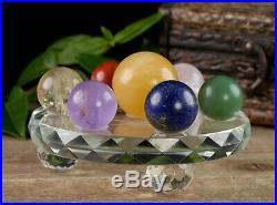 Seven Chakra Crystal Sphere Set with Base Crystal Ball 7 Stone Kit E0328