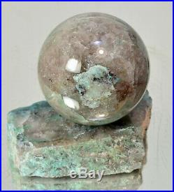 Shattuckite Chrysocolla in quartz polished sphere 2.09 with stand ball #14133