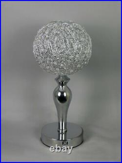 Silver LED Crystal Jewel Gem Diamante Wire Globe Sphere Table Desk Lamp Modern