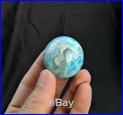 Solid Larimar Sphere/Ball Natural Crystal/Mineral 40mm, 94 grams + Free Stand