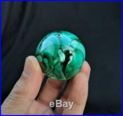 Solid Malachite Sphere/Ball Natural Crystal/Mineral 45mm, 156 grams + Free Stand