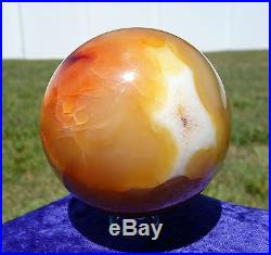 Special Pattern CARNELIAN AGATE Crystal Sphere Ball New Old Stock Original Find