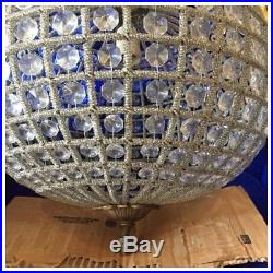Sphere Crystal Ball Empire Chandelier Vintage Refinished Antique French Hanging