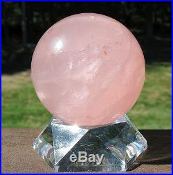 Star Rose Quartz Sphere / Crystal Ball with Stand Madagascar
