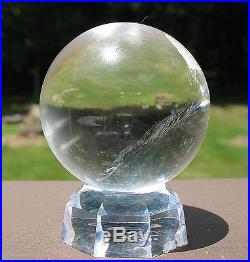 Super Clear Lemurian Quartz Sphere / Crystal Ball w Rainbow / Stand Included