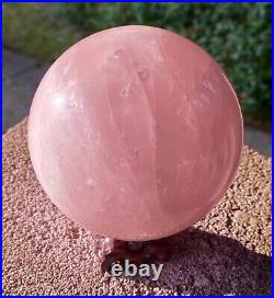 Super Large 1.2 Kilo In Weight Natural Rose Quartz Sphere Beautiful Crystal Ball