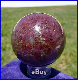 Super Rich Red RUBY & Blue KYANITE Crystal Sphere Ball Healing Stone