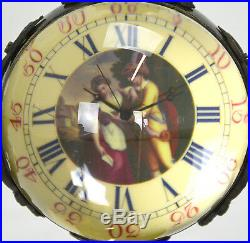 Swiss Style Crystal Glass Sphere Ball Brass Stand Table Clock with Lady Painting