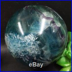 TOP-1433g 91mm Natural Fluorite Sphere&Stand Healing Reiki Crystal Ball C8183