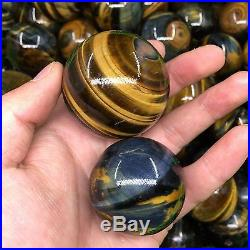 TOP-1KG 6PCS 40-50mm Natural Tigers Eye Stone Sphere Polished Ball Wholesale