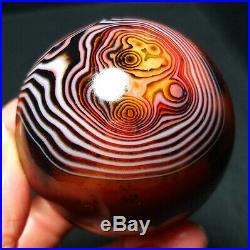 TOP 213.6G 53MM Natural Polished Banded Agate Crystal Sphere Ball Healing A251