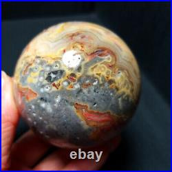 TOP 336.5G62mm Natural Polished Crazy Banded Agate Crystal Sphere Ball A457