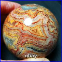 TOP 412.7G66mm Natural Polished Crazy Banded Agate Crystal Sphere Ball A448