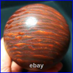 TOP 496.6G Natural Polished Wood grain stone Crystal Sphere Ball Healing YWD31