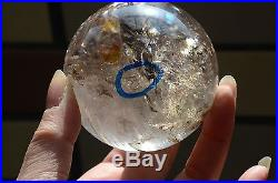 Tibet Crystal Ball Quartz Sphere 2.55 W 4 Easily Visible Moving ENHYDRO Bubbles