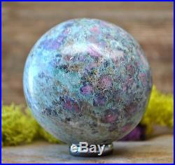 Top! Ruby In Fuchsite Crystal Gemstone Sphere Healing Ball From India 912.2