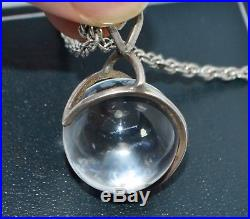 Unusual ART DECO Solid SIlver & ROCK CRYSTAL Sphere Ball Orb PENDANT & 24 Chain