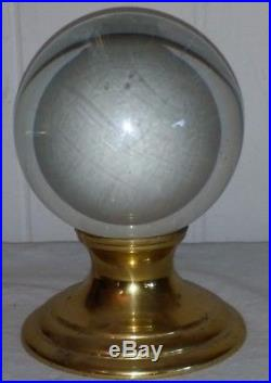 VINTAGE CRYSTAL BALL SPHERE WITH BRASS STAND 3.1/2 Diameter 5 1/2 Tall