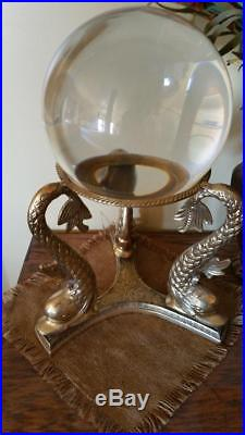 Very Large VTG Brass Fish Crystal Sphere Stand Holder Candle Gemstone Ball