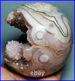 Very Rare Natural Pink/amethyst Geode & Agate Sphere Ball Reiki From Brazil