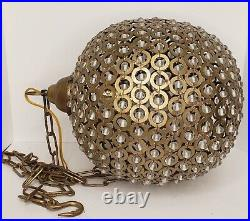 Vintage Brass Sphere Orb Crystal Swag Lamp Retro Mid Century Modern Approx. 13