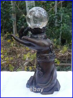 Vintage Bronze Hand Holding Scrying Crystal Ball Psychic Fortune Telling Sphere