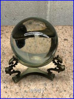 Vintage Crystal Ball withVintage Brass Stand (dragons) Healing Sphere