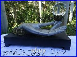 Vintage Hand Holding Scrying Crystal Ball Psychic Fortune Telling Sphere Stand
