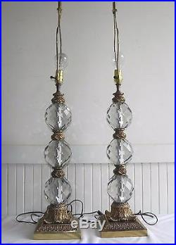 Vintage Pair of 39 Art Deco Crystal Ball Sphere Lamps 3 Stacked Faceted Gold