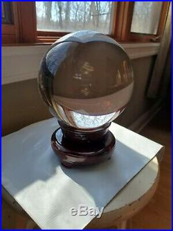 Vtg, 19 Round Crystal Ball, Glass Sphere, Magic-Fortune, Wood Felt Stand Wow