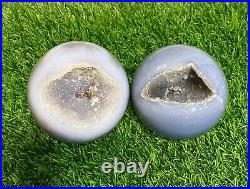 Wholesale Lot 2 Pcs Natural Druzy Agate Sphere Crystal Ball 2.75-3 Lbs Healing