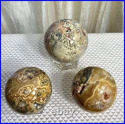 Wholesale Lot 3 Pcs Natural Crazy Lace Agate Spheres Crystal Ball 2.75 To 3 Lbs