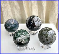 Wholesale Lot 4 Pcs 2.8 -3 Lbs Natural Moss Agate Spheres Crystal Ball