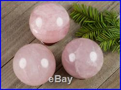 XL STAR ROSE QUARTZ Crystal Ball with Stand Stone Sphere Natural Polished E1005